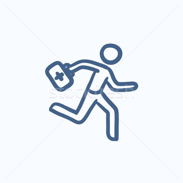 Paramédico ejecutando primeros auxilios boceto icono Foto stock © RAStudio