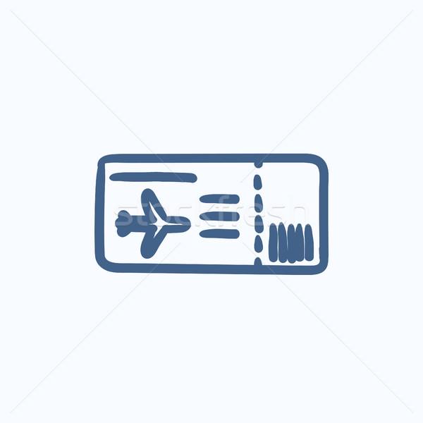 Vlucht ticket schets icon vector geïsoleerd Stockfoto © RAStudio