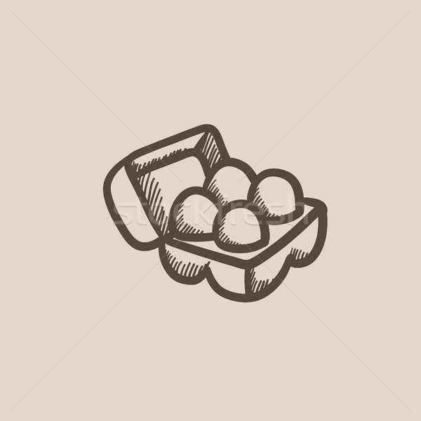Eggs in carton package sketch icon. Stock photo © RAStudio