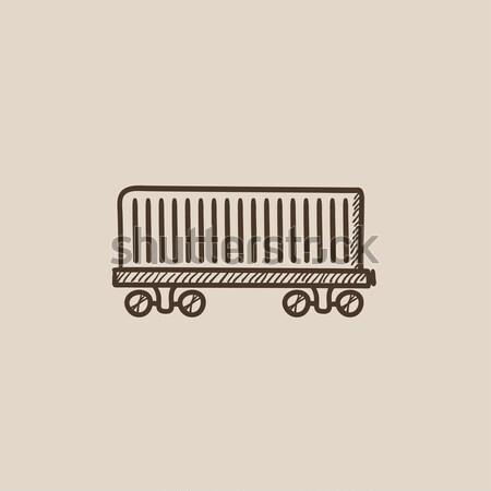Teher vagon rajz ikon vektor izolált Stock fotó © RAStudio