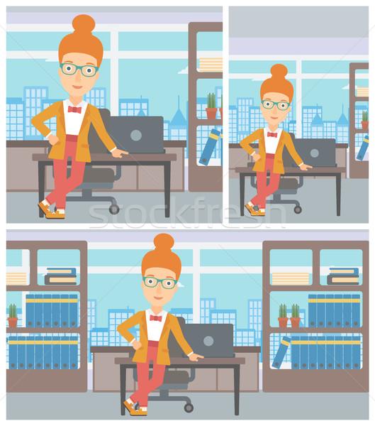 Femme d'affaires permanent bureau jeunes table Photo stock © RAStudio