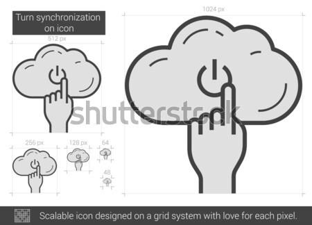Turn synchronization on line icon. Stock photo © RAStudio