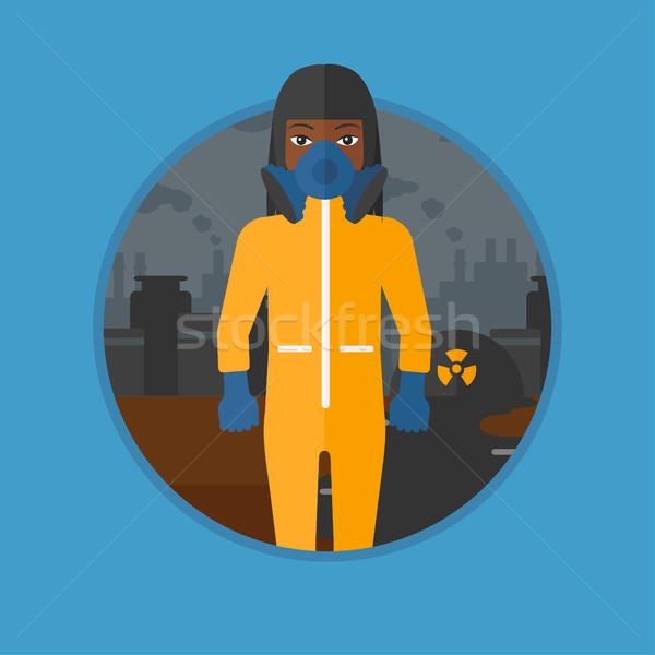 Kobieta promieniowanie garnitur maska stałego jądrowej Zdjęcia stock © RAStudio