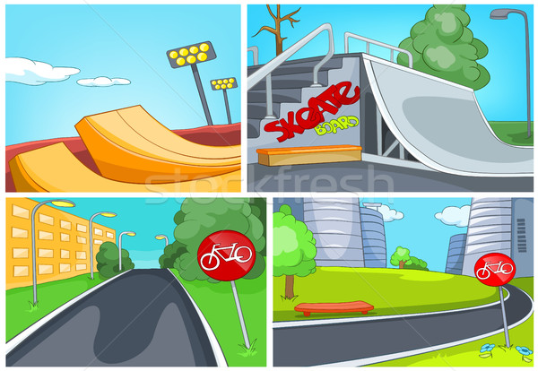 Cartoon set of skatepark and bike lane backgrounds Stock photo © RAStudio