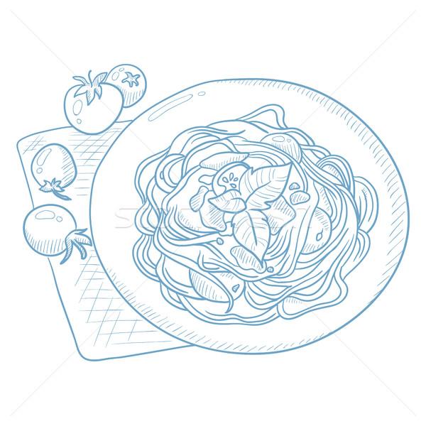 Spaghetti basilico piatto pomodori tovagliolo Foto d'archivio © RAStudio