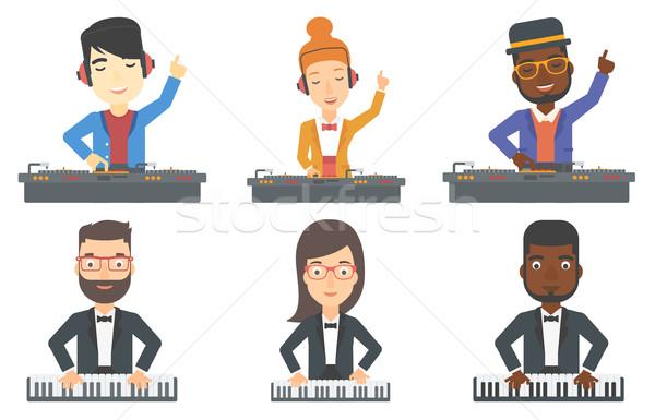 Vector ingesteld muzikanten jonge muziek Stockfoto © RAStudio