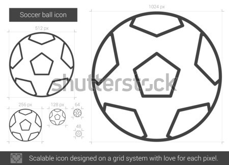 футбольным мячом линия икона вектора изолированный белый Сток-фото © RAStudio