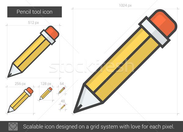 Kalem araç hat ikon vektör yalıtılmış Stok fotoğraf © RAStudio