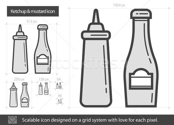 Ketchup mustár vonal ikon vektor izolált Stock fotó © RAStudio