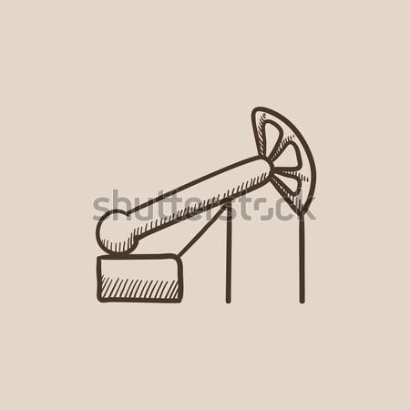 Stockfoto: Pompen · olie · kraan · schets · icon · vector