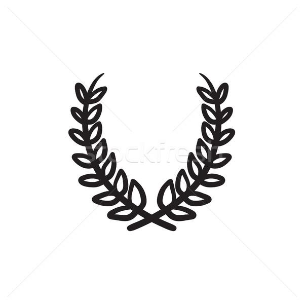 Defne çelenk kroki ikon vektör yalıtılmış Stok fotoğraf © RAStudio