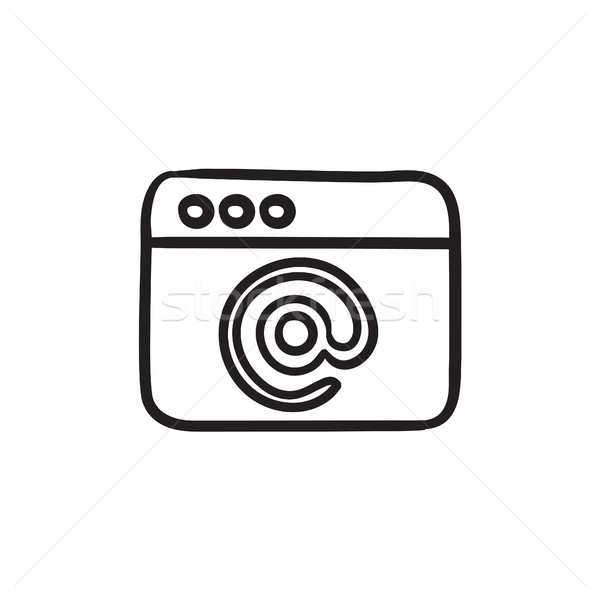 Browser window with email sign sketch icon. Stock photo © RAStudio