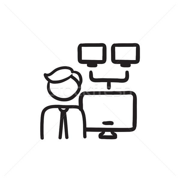 Rede administrador esboço ícone vetor isolado Foto stock © RAStudio