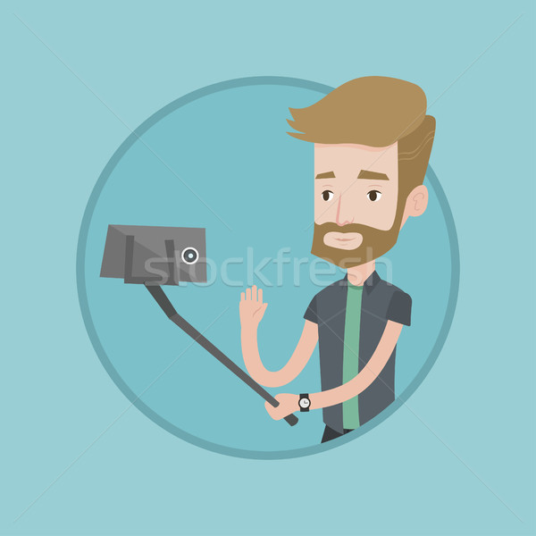 Man making selfie vector illustration. Stock photo © RAStudio