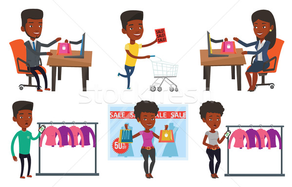 Vector set of shopping people characters. Stock photo © RAStudio