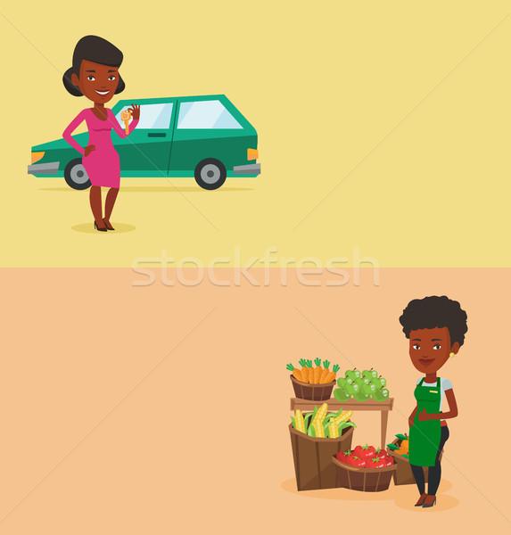 Dois compras banners espaço texto vetor Foto stock © RAStudio
