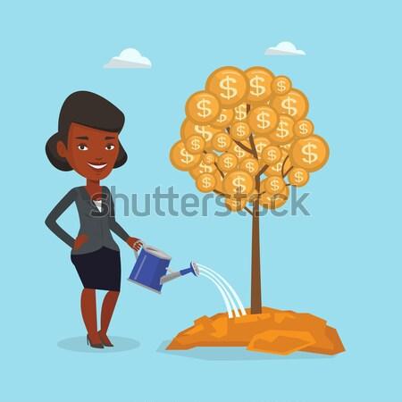 Foto stock: Mujer · mujer · de · negocios · dinero