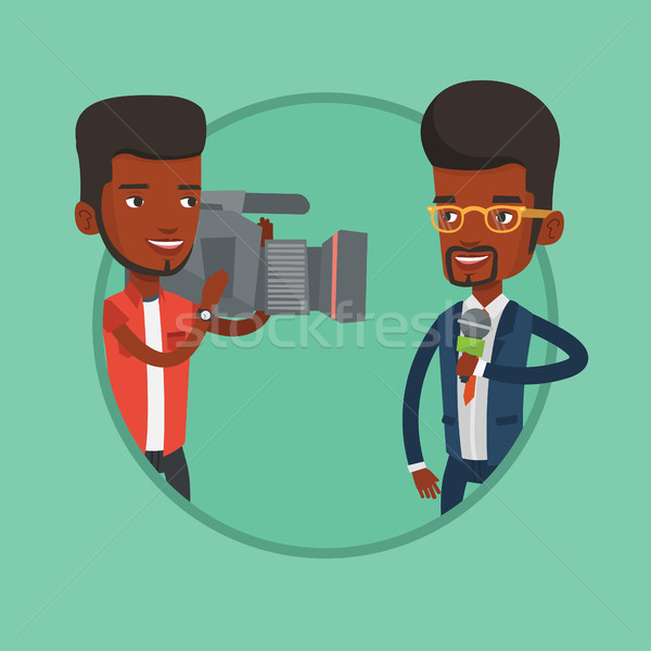 Tv journaliste opérateur africaine micro Photo stock © RAStudio