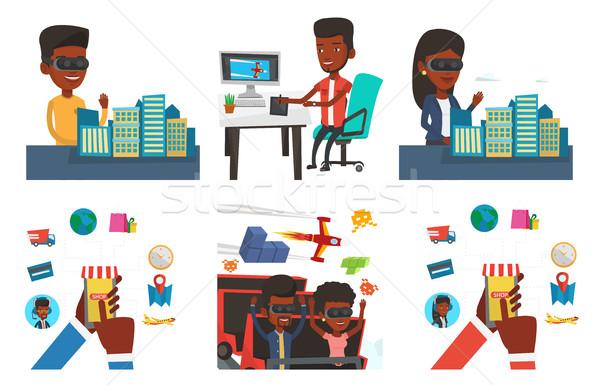 ストックフォト: ベクトル · セット · 人 · 現代 · 技術 · アフリカ