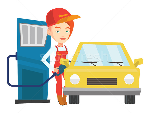 Worker filling up fuel into car. Stock photo © RAStudio