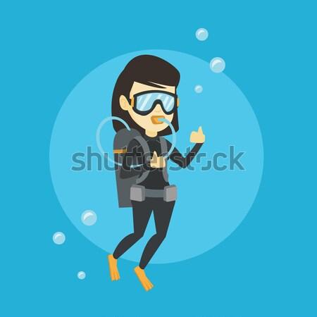 Mulher mergulho mergulho polegar para cima Foto stock © RAStudio