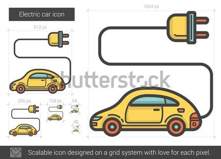 Auto elettrica line icona vettore isolato bianco Foto d'archivio © RAStudio