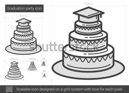 Afstuderen partij lijn icon vector geïsoleerd Stockfoto © RAStudio