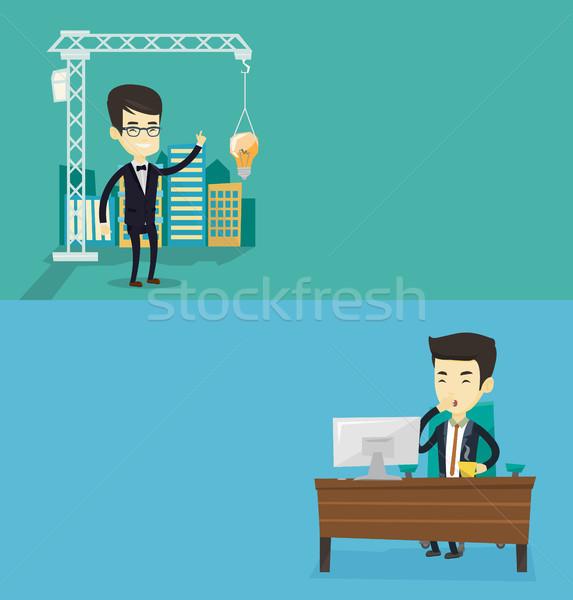 Kettő üzlet bannerek űr szöveg vektor Stock fotó © RAStudio