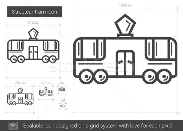 Tramwaj line ikona wektora odizolowany biały Zdjęcia stock © RAStudio