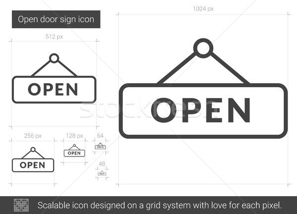 Open deur teken lijn icon vector geïsoleerd Stockfoto © RAStudio