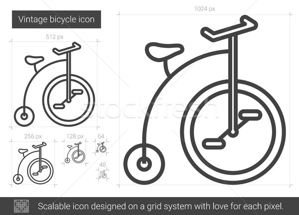 Stock photo: Vintage bicycle line icon.