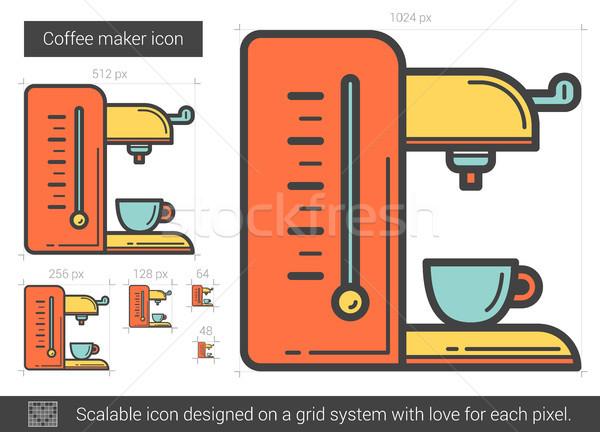 Koffiezetapparaat lijn icon vector geïsoleerd witte Stockfoto © RAStudio
