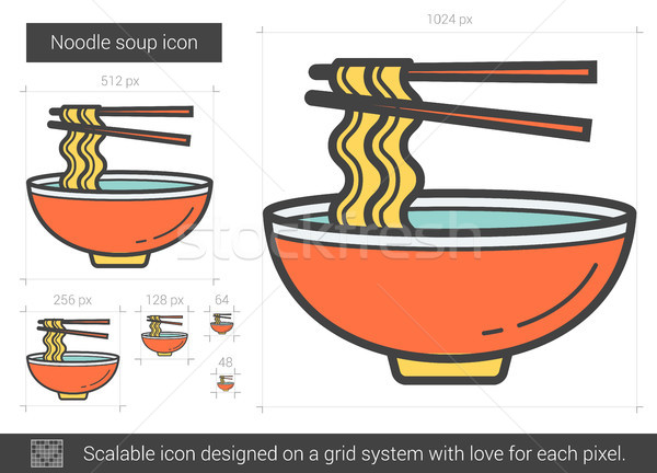 Noodle soup line icon. Stock photo © RAStudio