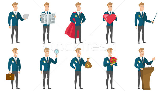 Vector set of illustrations with groom character. Stock photo © RAStudio