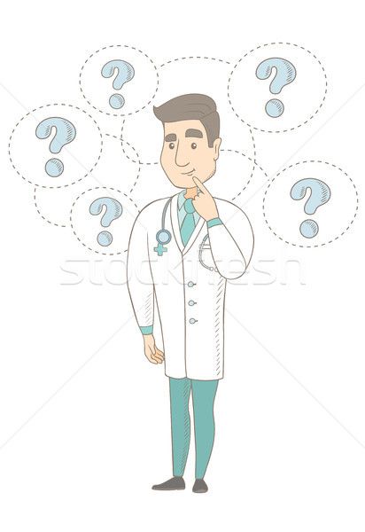 Thinking caucasian doctor with question marks. Stock photo © RAStudio