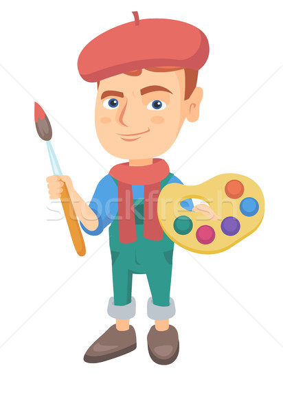 Boy dressed as an artist holding brush and paints. Stock photo © RAStudio