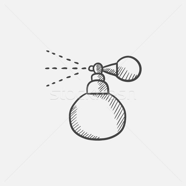 Perfume bottle spraying sketch icon. Stock photo © RAStudio