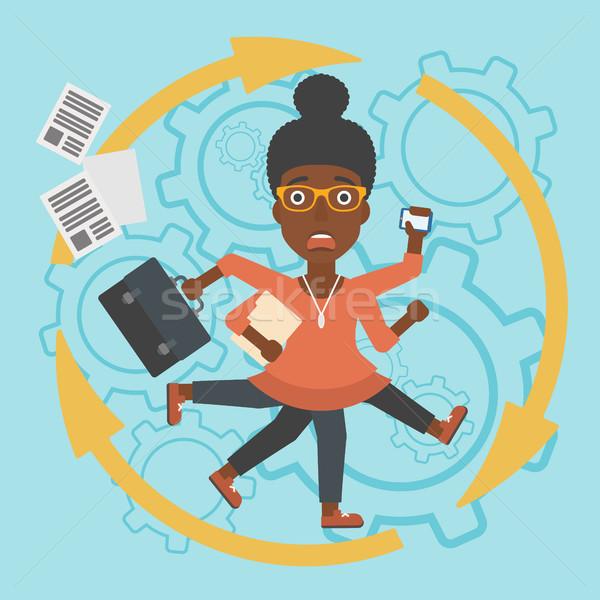 Business woman wielozadaniowość młodych wiele nogi ręce Zdjęcia stock © RAStudio