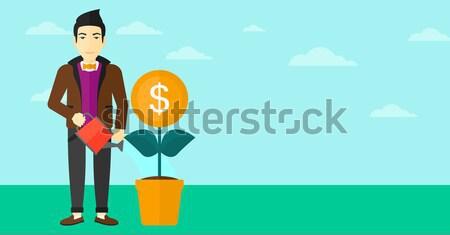 üzletasszony locsol pénz virág sikeres üzlet Stock fotó © RAStudio
