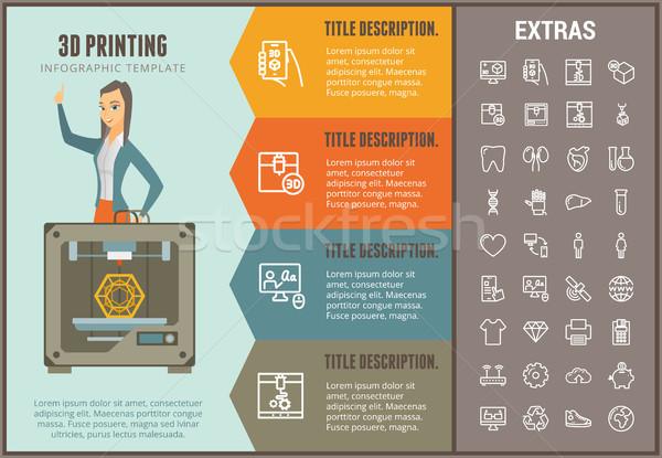 3D nyomtatás infografika sablon elemek lehetőségek Stock fotó © RAStudio