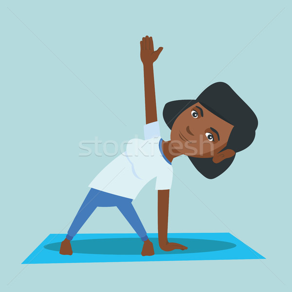 Jóvenes África mujer yoga triángulo Foto stock © RAStudio