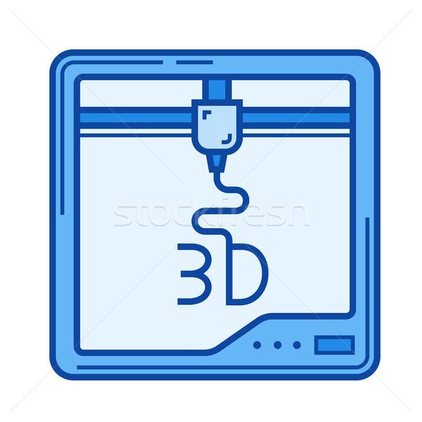 Three D print line icon. Stock photo © RAStudio