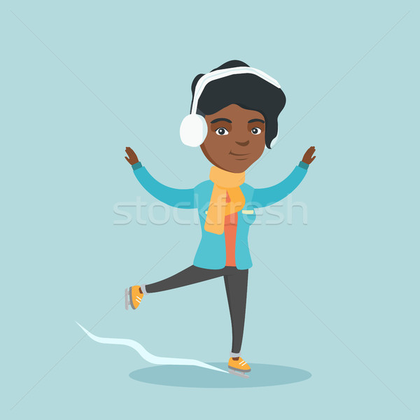 Fiatal nő korcsolyázás boldog kint izgatott Stock fotó © RAStudio