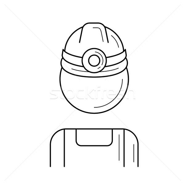 Mine travailleur vecteur ligne icône isolé Photo stock © RAStudio