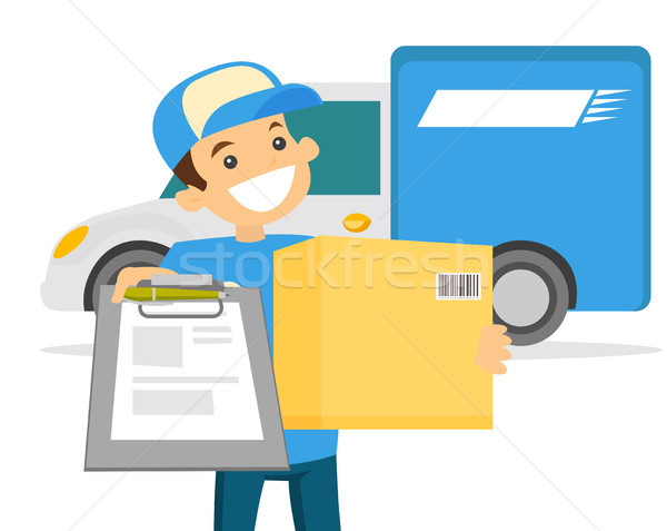 Young delivery man delivering parcel to customer. Stock photo © RAStudio