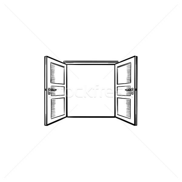 Door opening hand drawn sketch icon. Stock photo © RAStudio