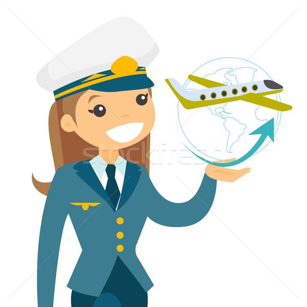 Repülőgép pilóta kalap néz repülőgép körül Stock fotó © RAStudio