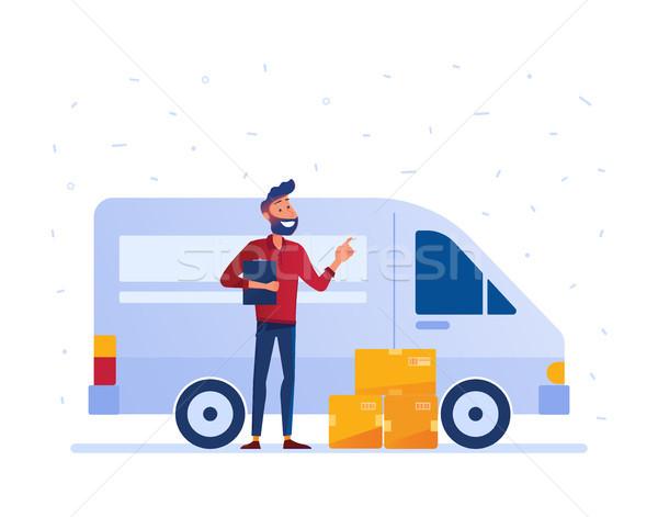 Helyi házhozszállítás szolgáltatás futár karton dobozok Stock fotó © RAStudio