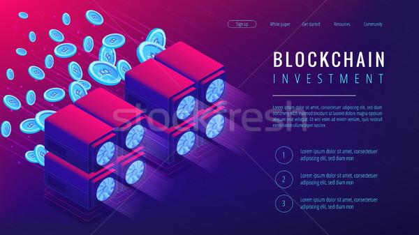 Izometrikus beruházás leszállás oldal dedikált szerverek Stock fotó © RAStudio