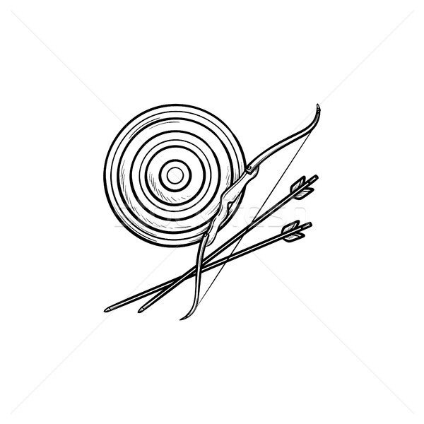 Target, bow and arrows hand drawn outline doodle icon. Stock photo © RAStudio